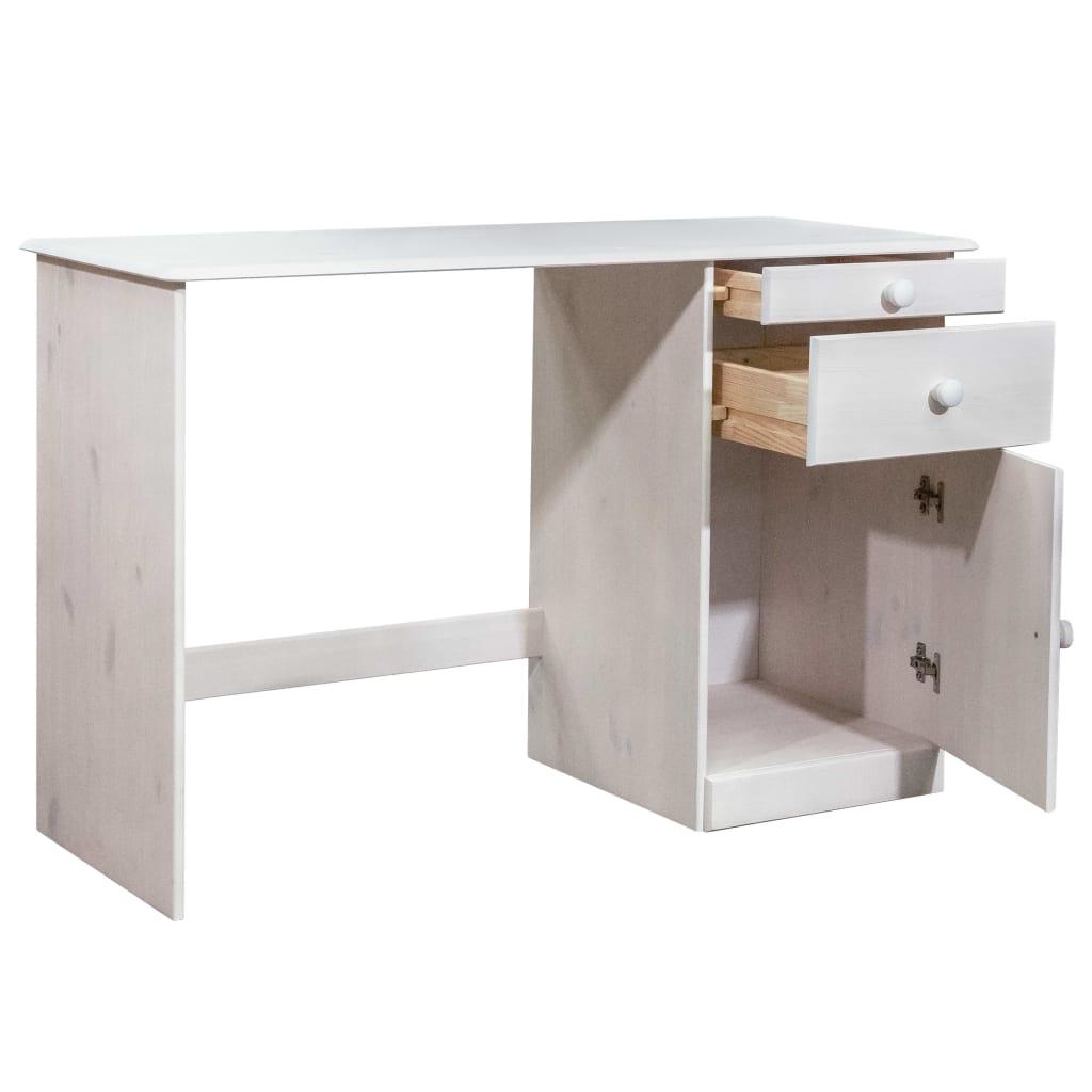Bureau Plazzio 2 tiroirs et 1 placard Bois massif Blanc