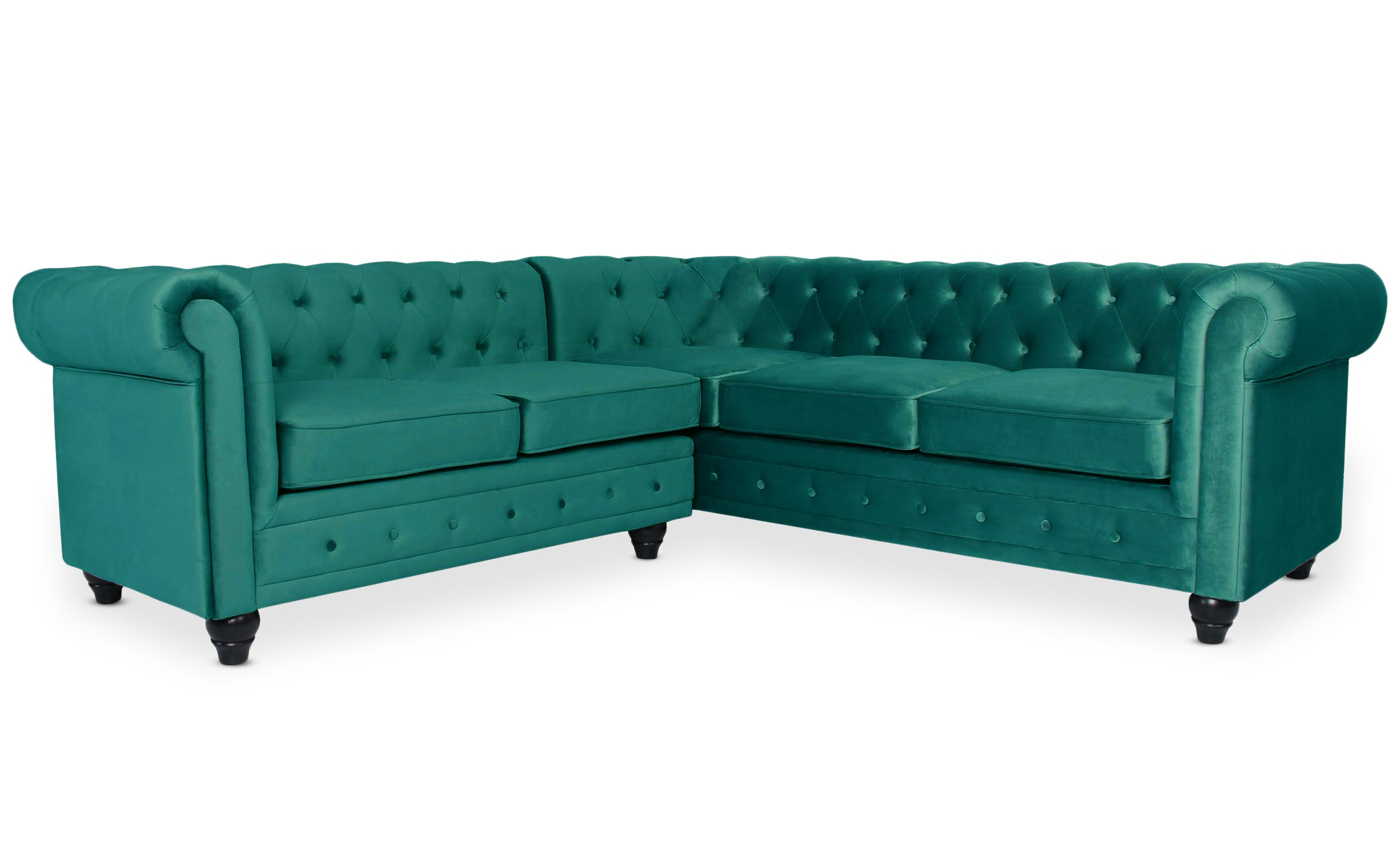 Canapé d'angle capitonné style chesterfield Gustave Velours Vert