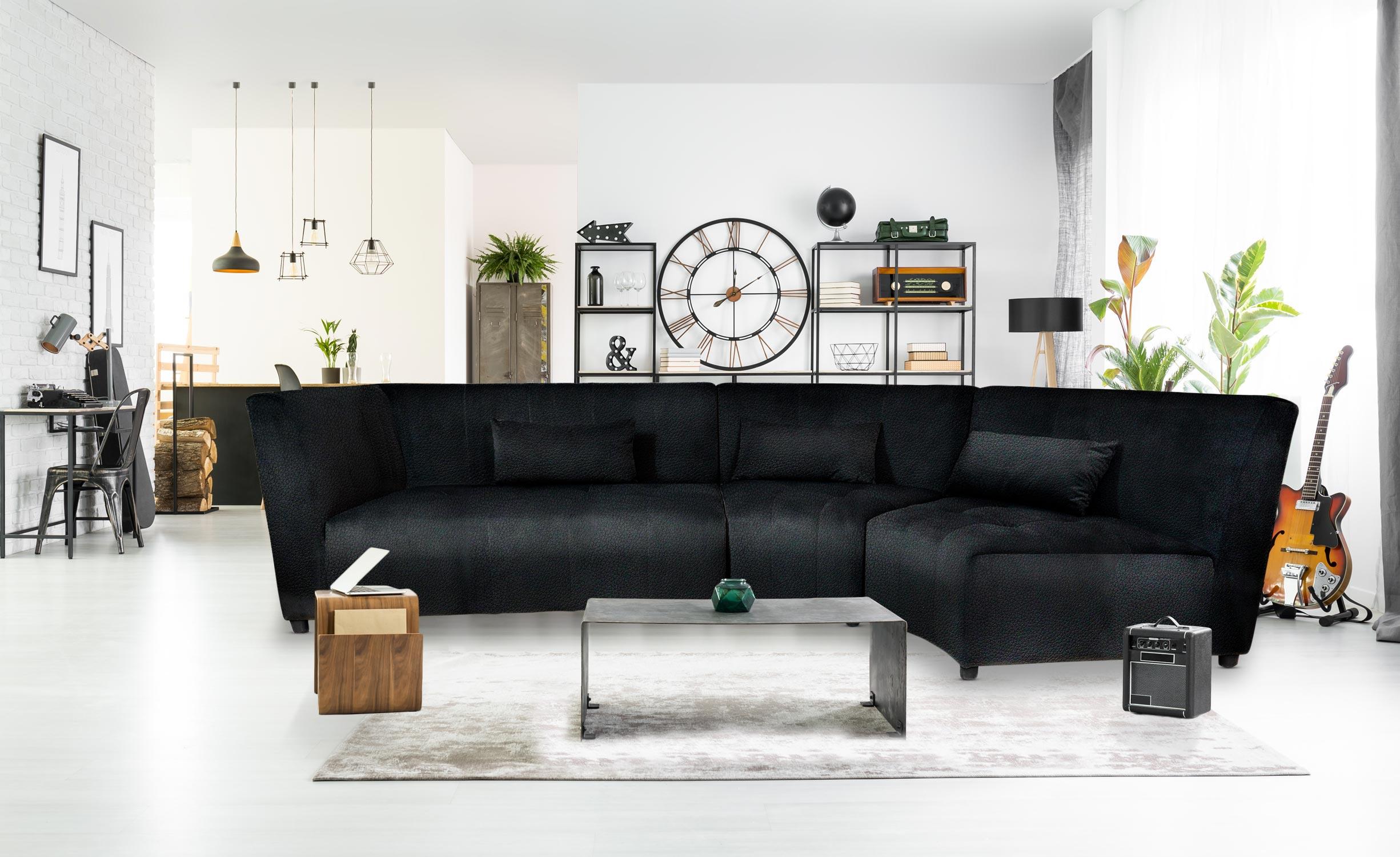 Canapé d'angle Dojo Simili Noir