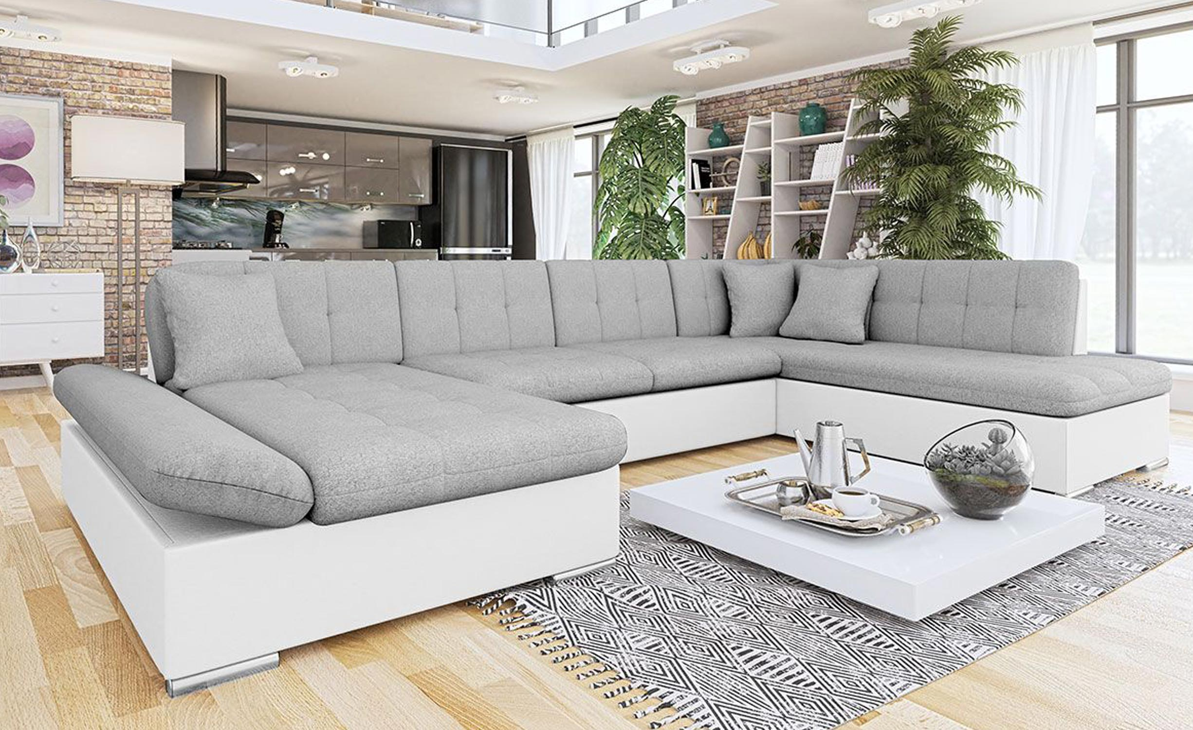 Canapé d'angle en U convertible Baronnet Simili Blanc et Tissu Gris