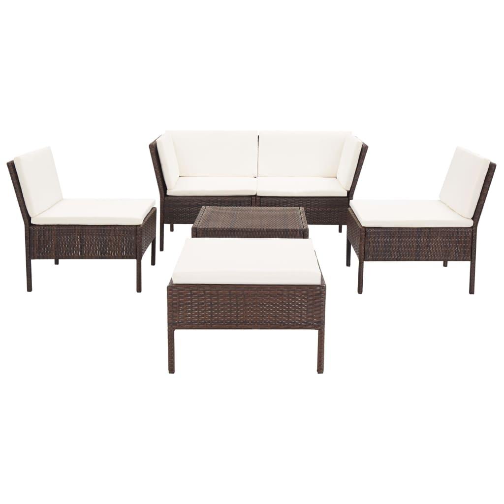 Canapé d'angle et table basse d'extérieur Kokas Résine tressée Marron
