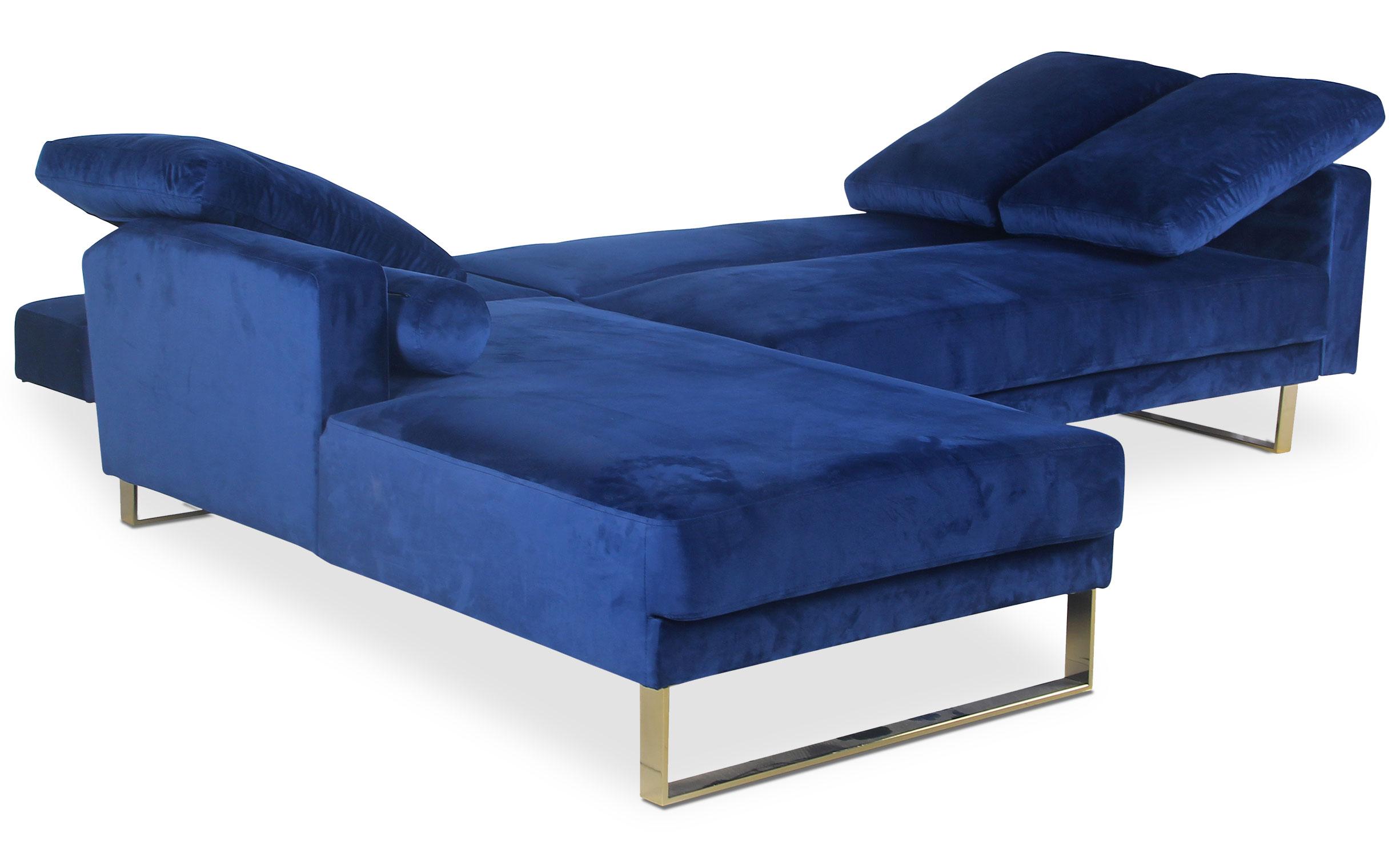 Canapé d'angle convertible Nirvana Velours Bleu