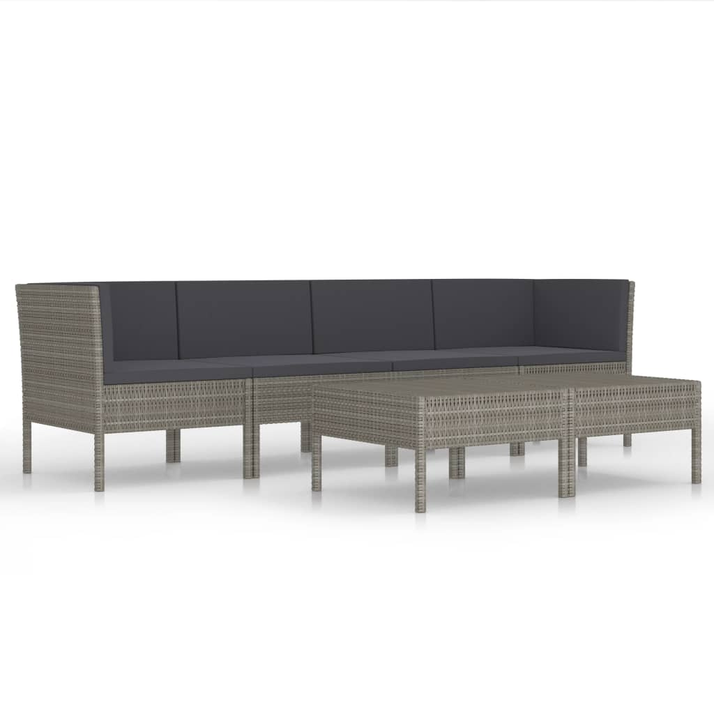 Canapé d'angle + table basse d'extérieur Kouba Résine Gris