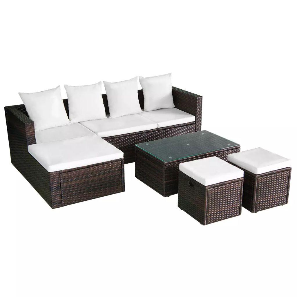 Canapé et table basse d'extérieur Jersey Verre Transparent et Résine tressée Blanc