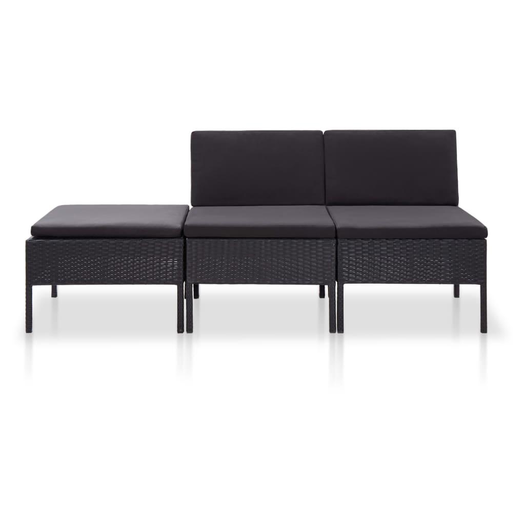 Canapé et table basse d'extérieur Kokas Résine tressée Noir