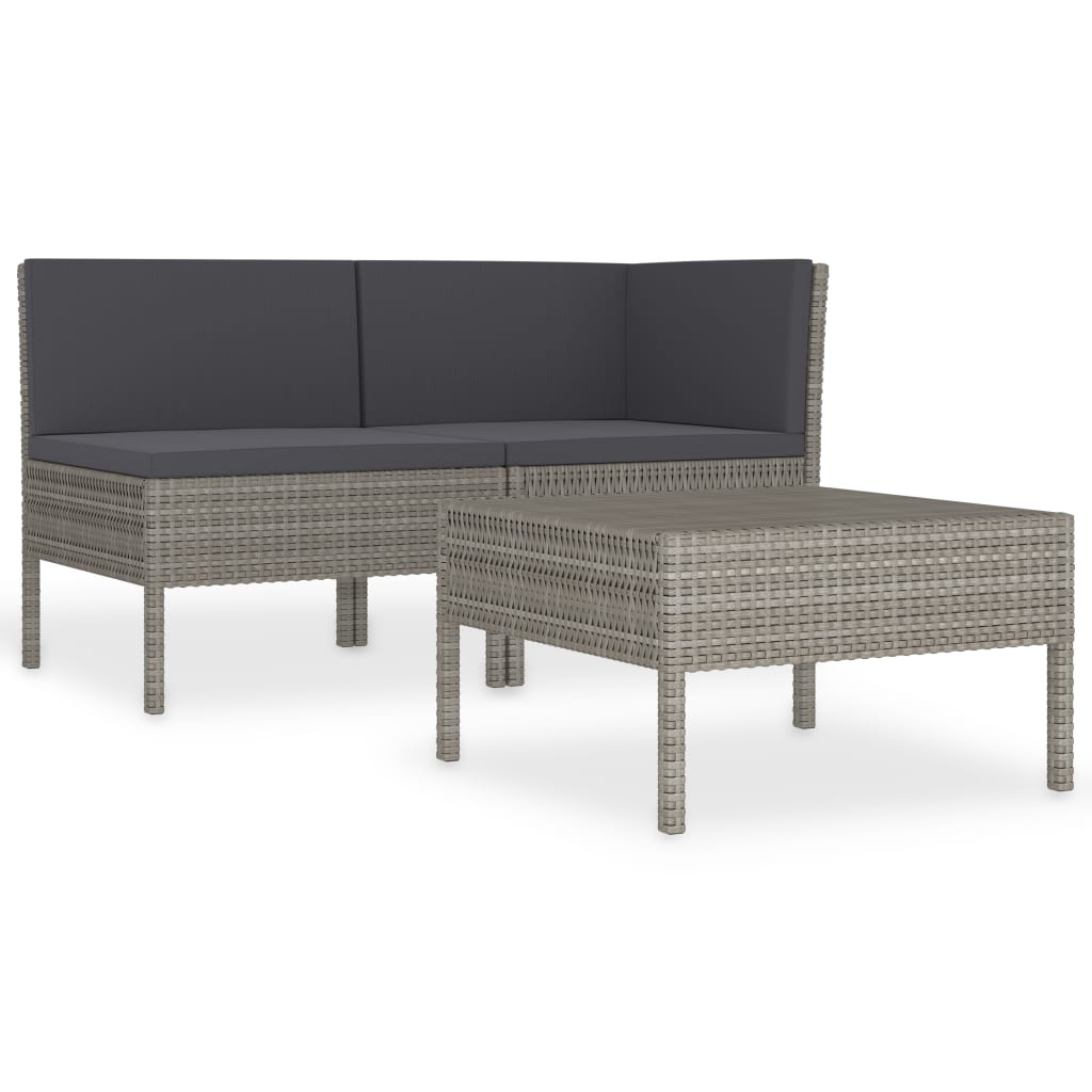 Canapé et table basse d'extérieur Vosges Résine Gris et Tissu Noir