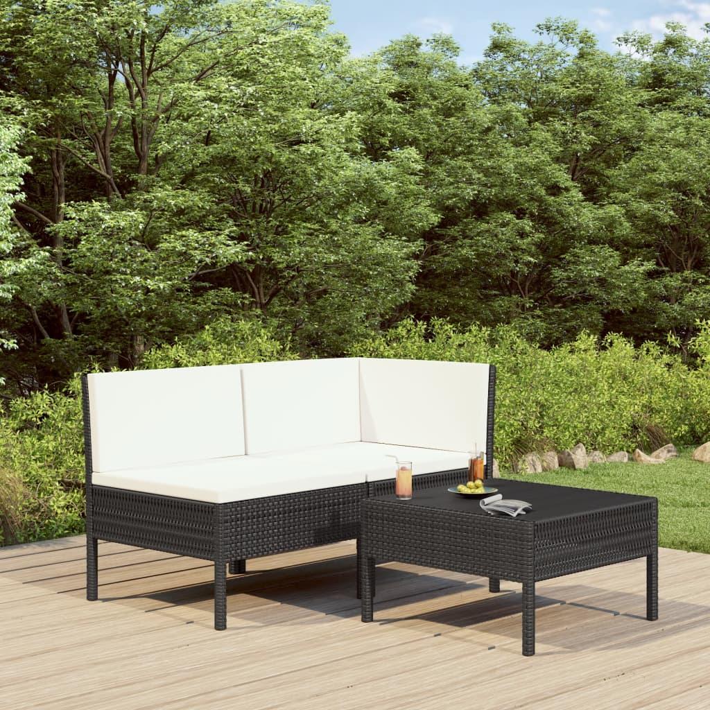 Canapé et table basse d'extérieur Vosges Résine Noir et Tissu Cremé
