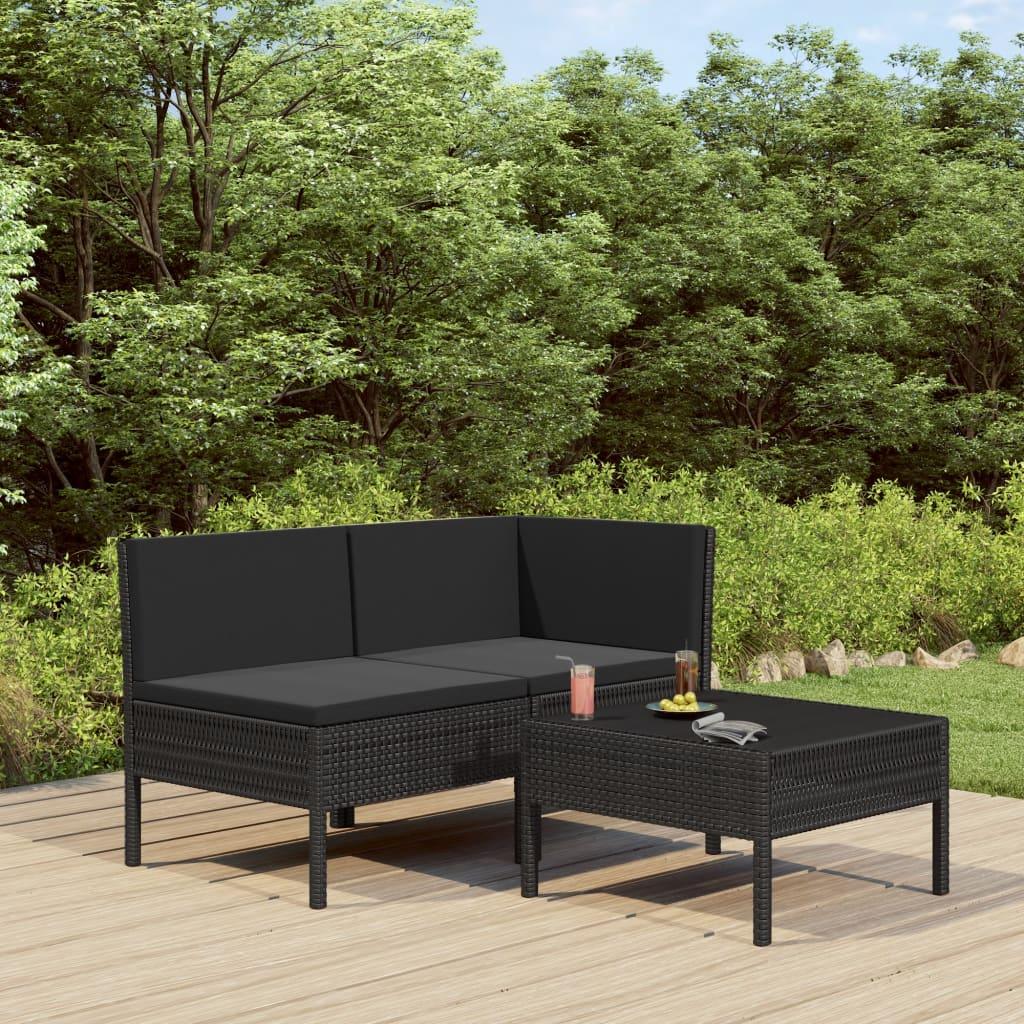 Canapé et table basse d'extérieur Vosges Résine Noir et Tissu Noir