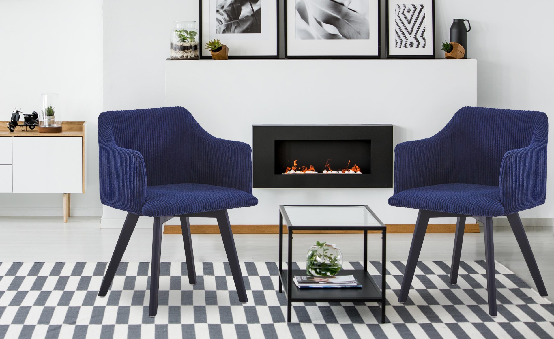 Chaise style scandinave Candy Velours Bleu