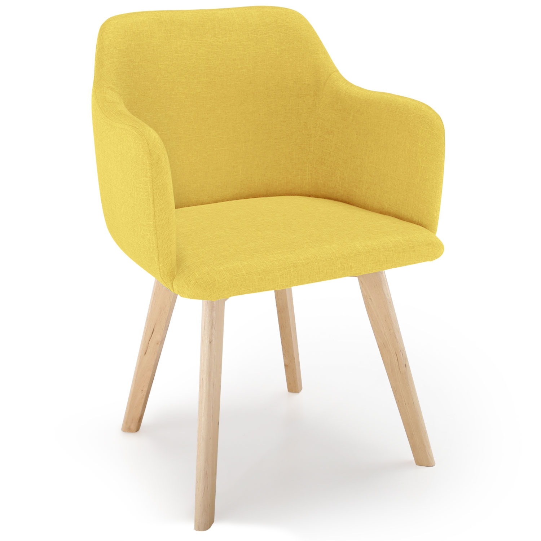 Chaise style scandinave Candy Tissu Jaune