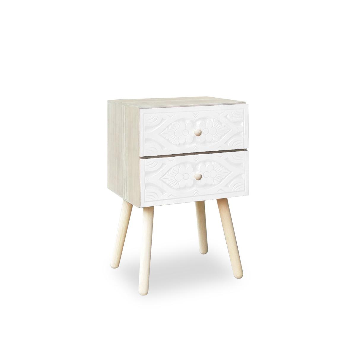 Table de chevet Catana 2 tiroirs Blanc