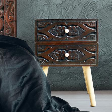Table de chevet Catana 2 tiroirs Marron