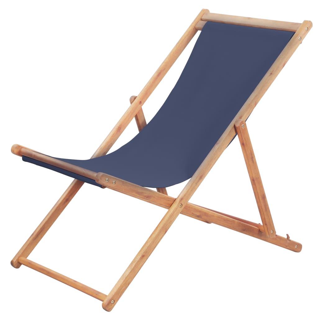 Chaise de jardin Alric Bois chilienne Tissu Bleu