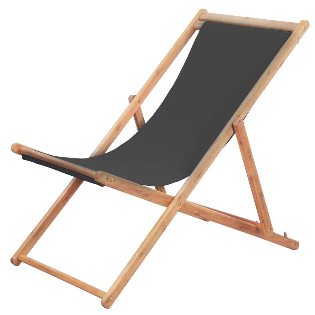 Chaise de jardin Alric Bois chilienne Tissu Gris