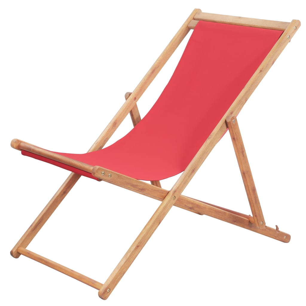 Chaise de jardin Alric Bois chilienne Tissu Rouge