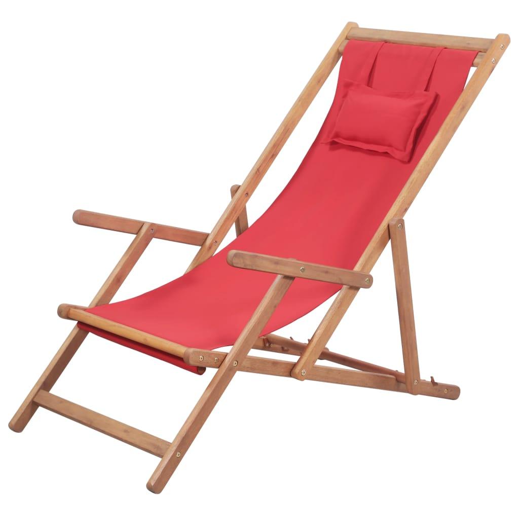 Chaise de jardin Bazil Bois chilienne Tissu Rouge