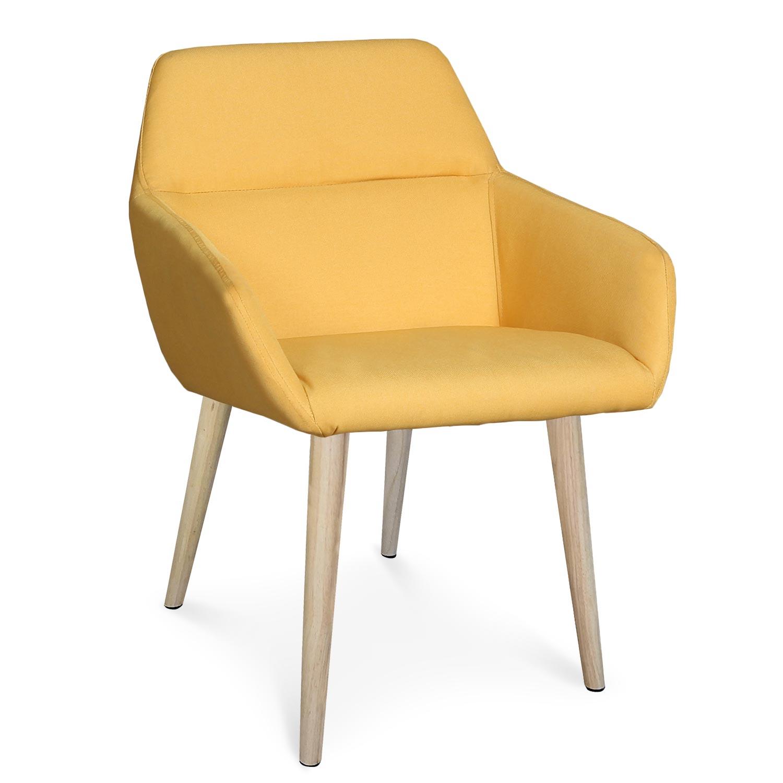 Chaise / Fauteuil scandinave Fraydo Tissu Jaune