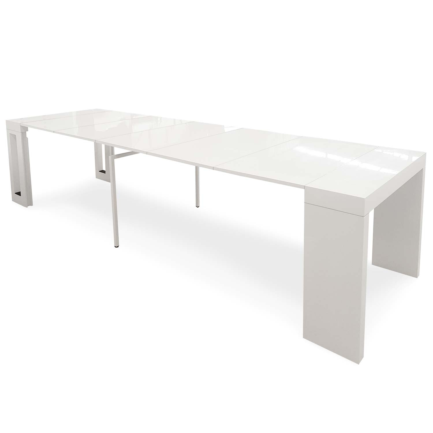 Table console extensible Chay Blanc laqué