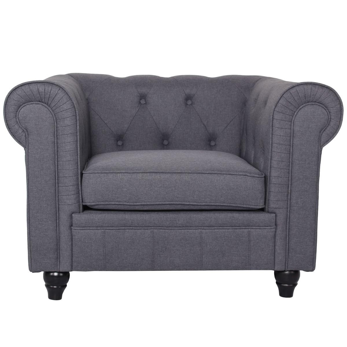 Grand fauteuil Chesterfield effet Lin Gris