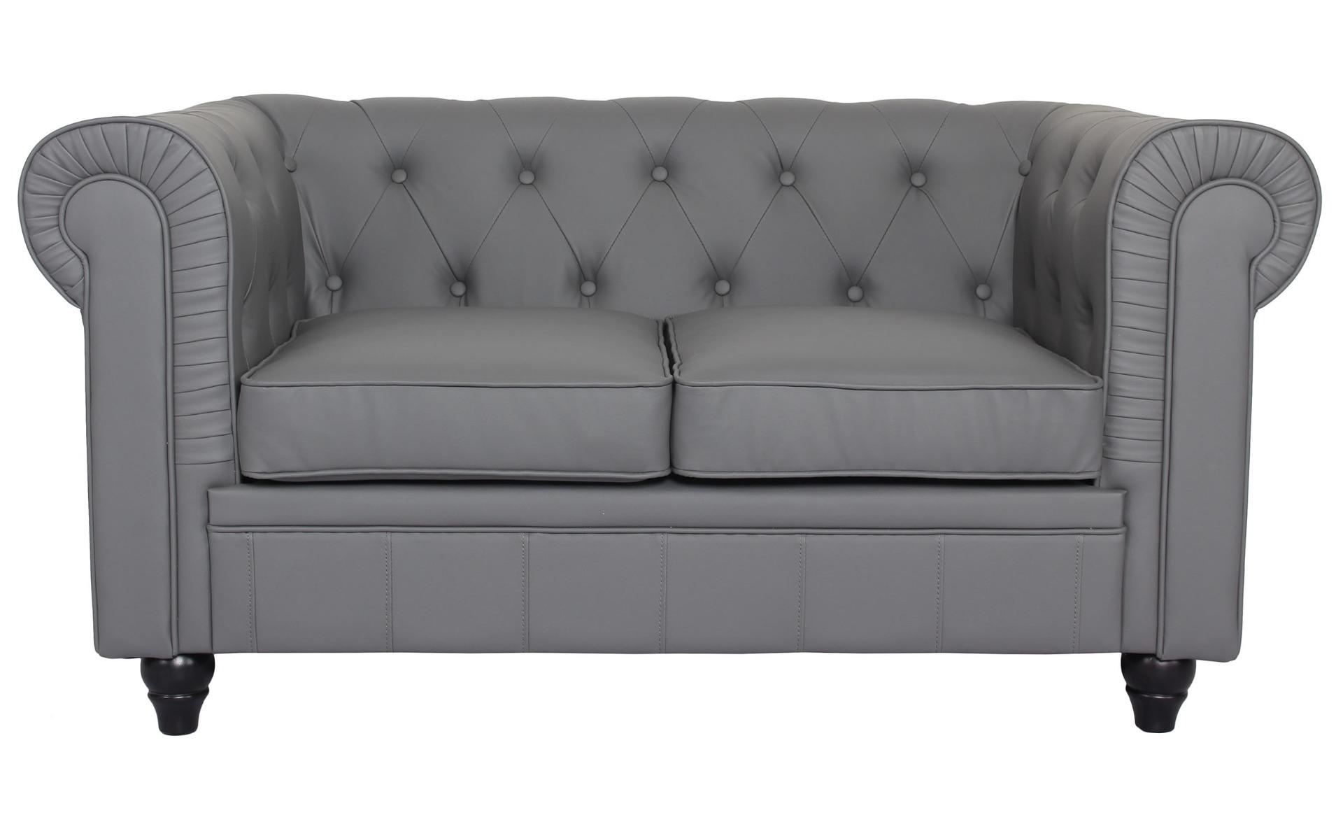 Le canapé Chesterfield capitonné 2 places original gris