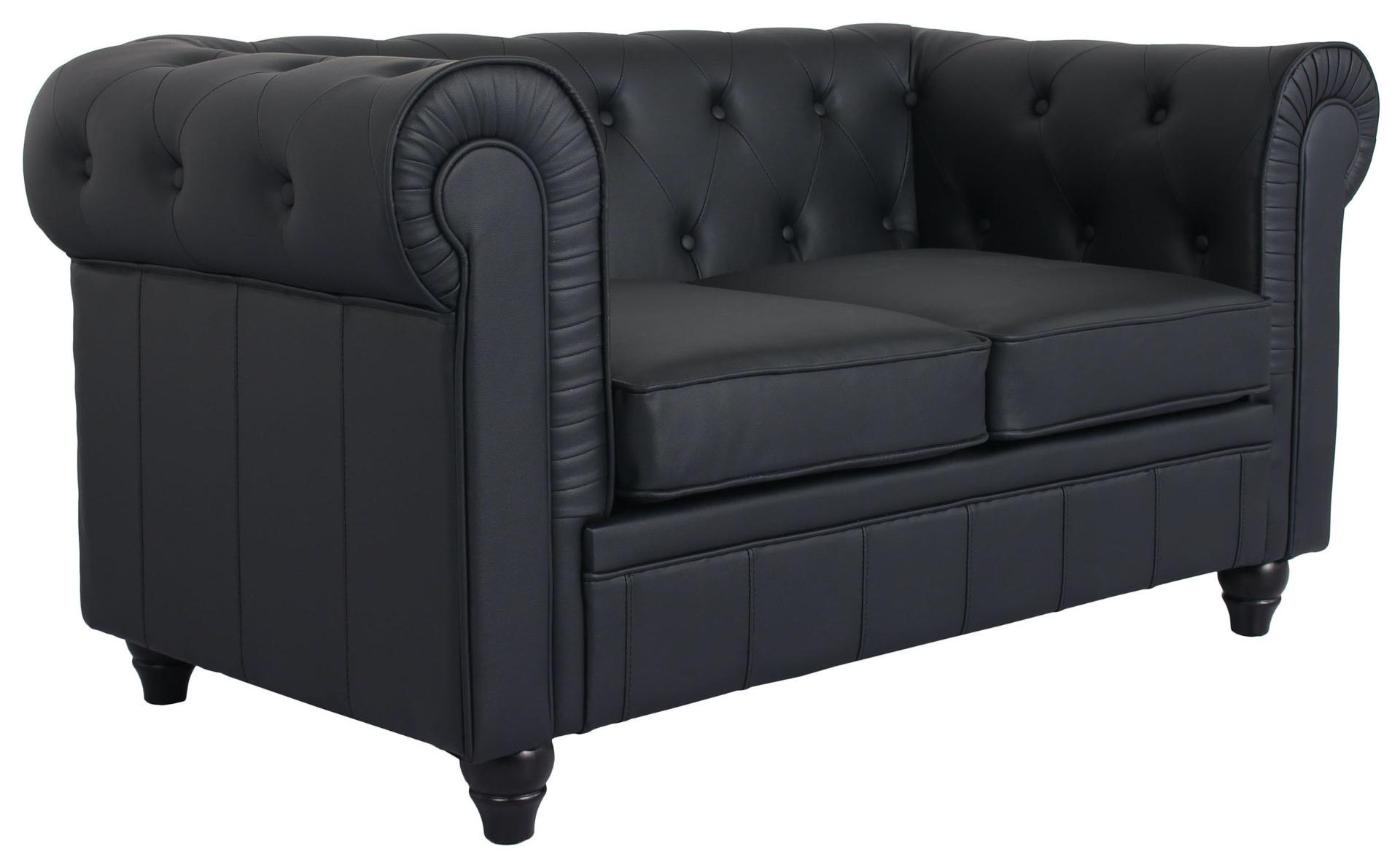 Grand canapé 2 places Chesterfield Noir