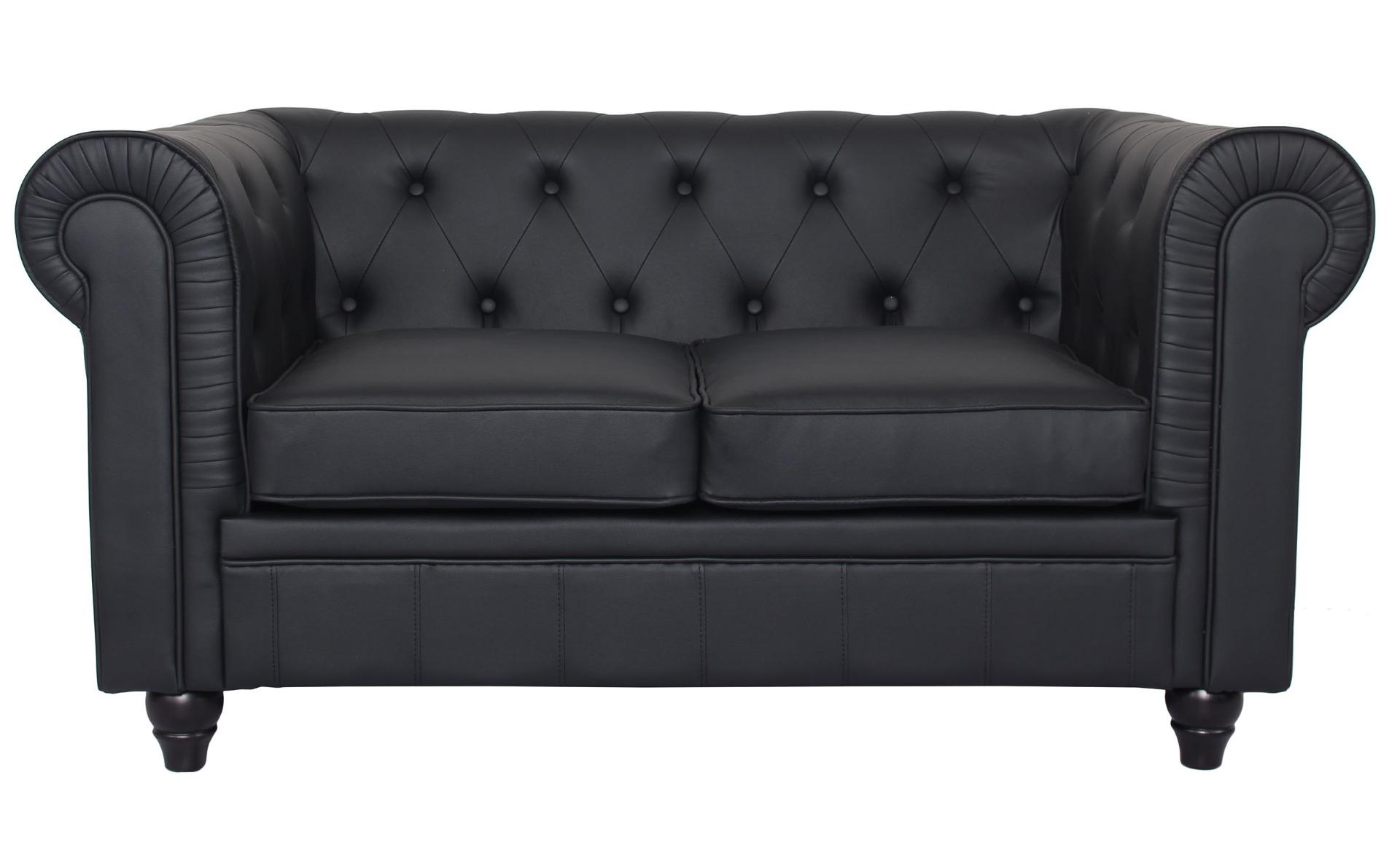 Le véritable canapé Chesterfield 2 places capitonné noir