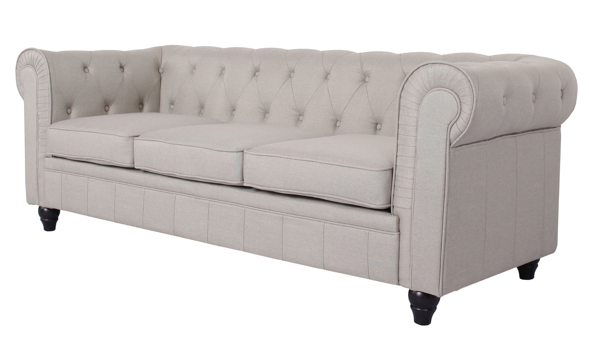 Grand canapé 3 places Chesterfield effet Lin Beige