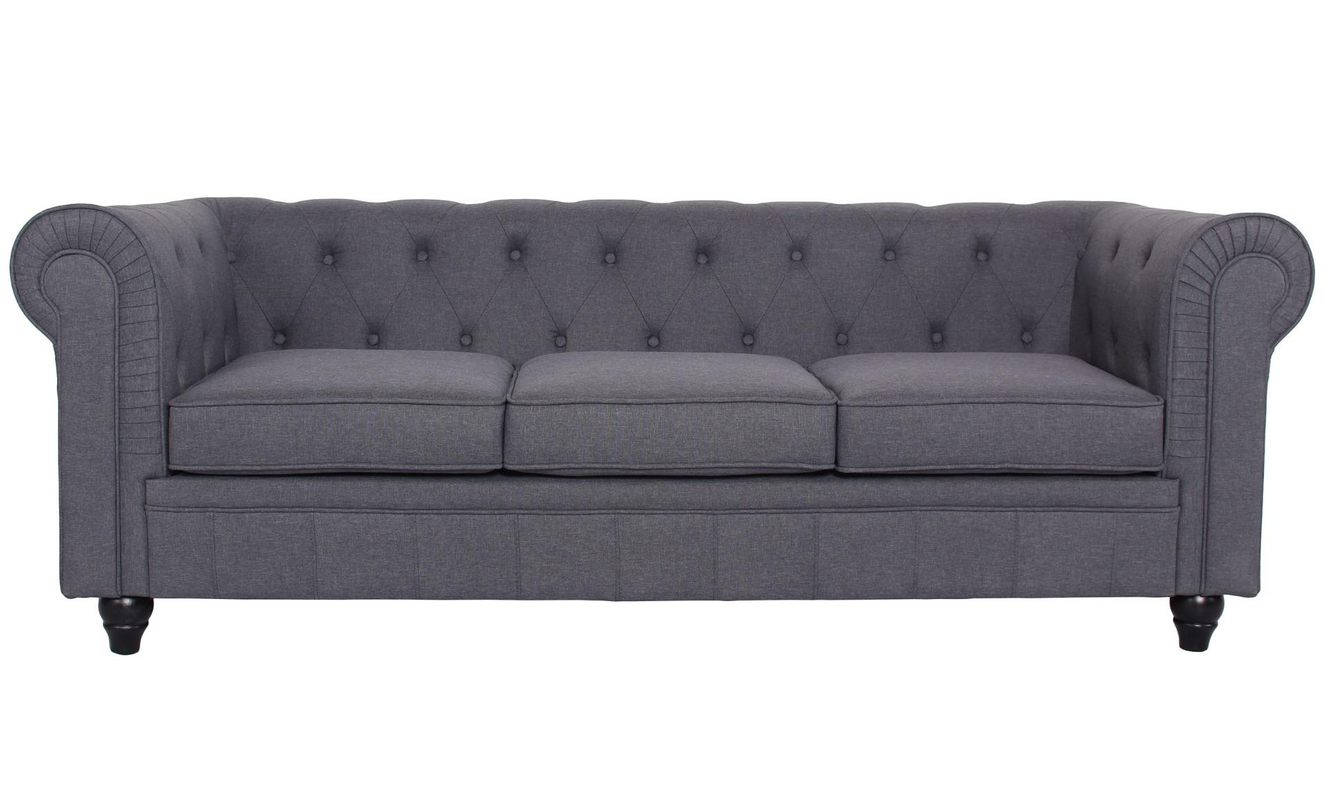 Grand canapé 3 places Chesterfield effet Lin Gris