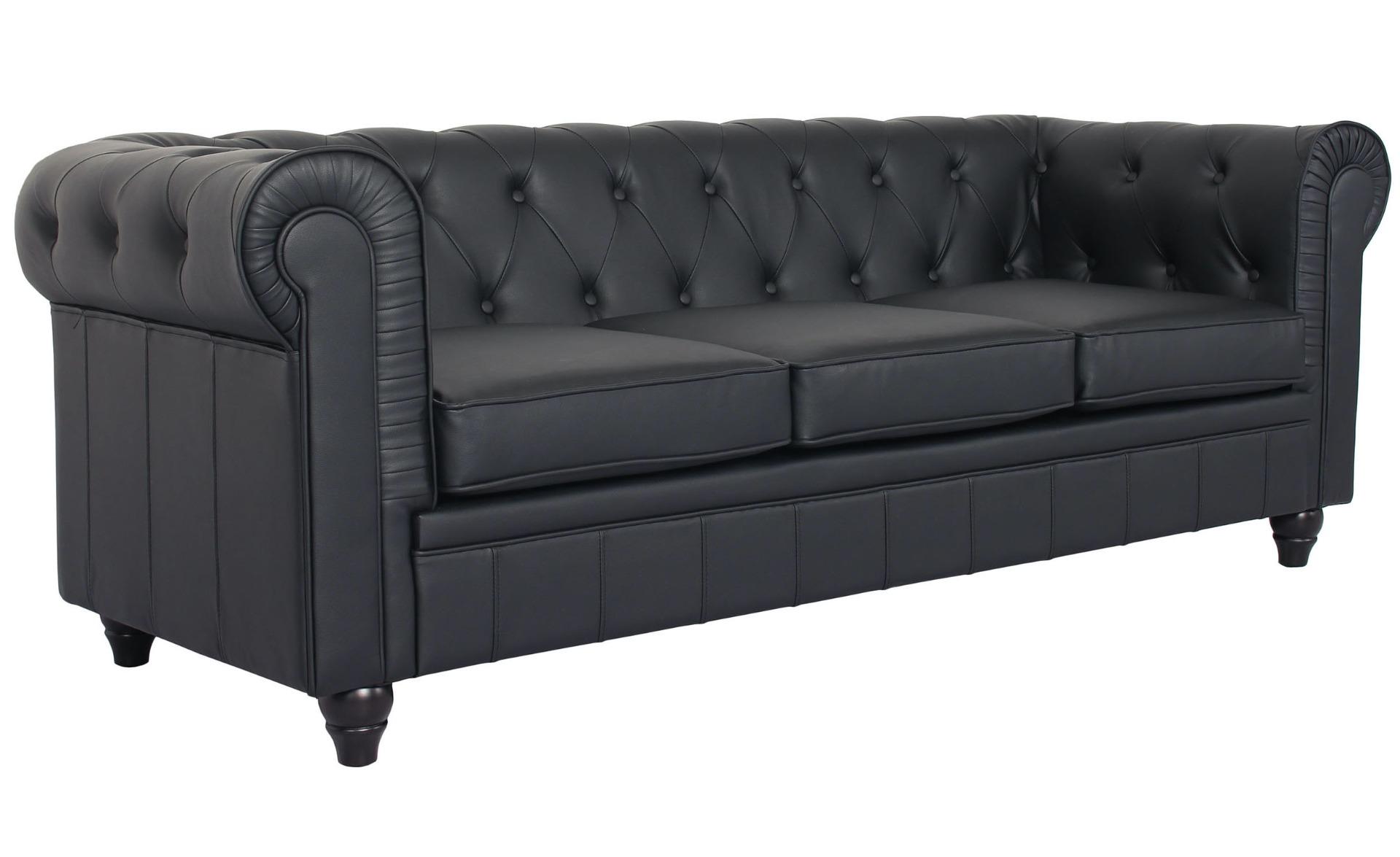 Grand canapé 3 places Chesterfield Noir