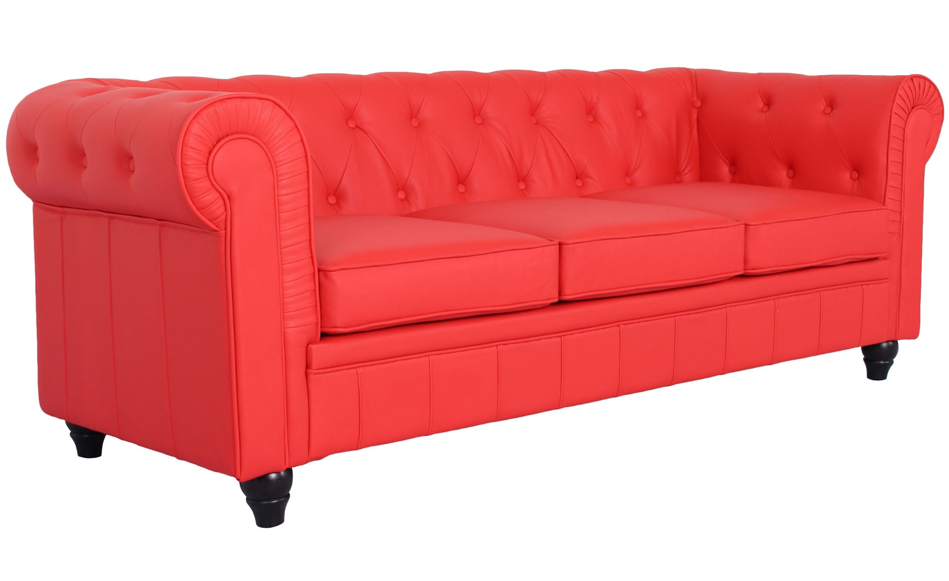 Grand canapé 3 places Chesterfield Rouge