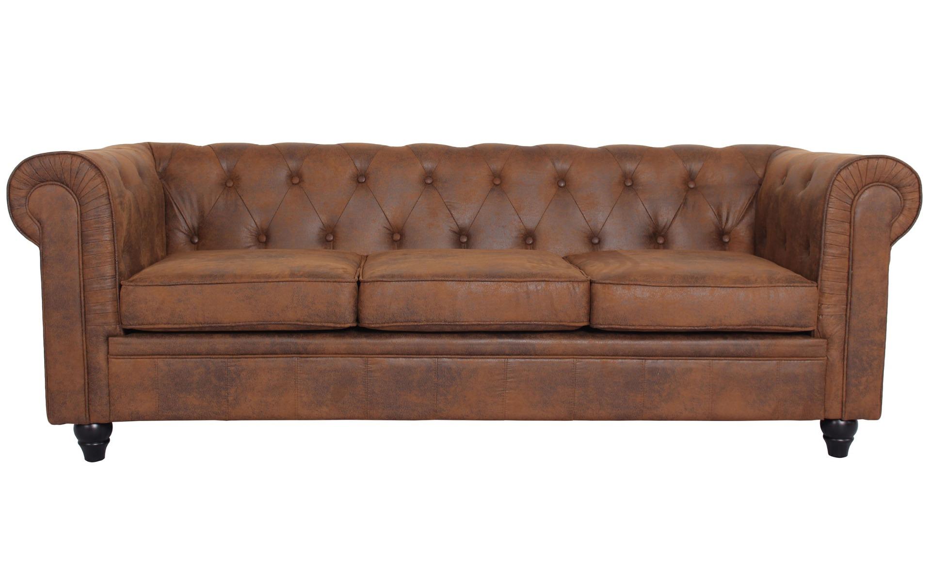 Grand canapé 3 places Chesterfield Vintage