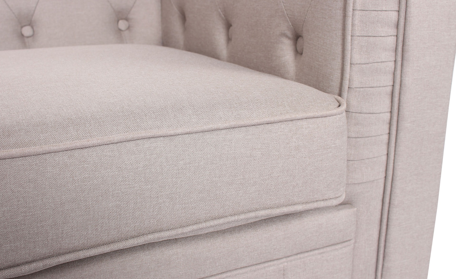 Grand canapé 2 places Chesterfield effet Lin Beige