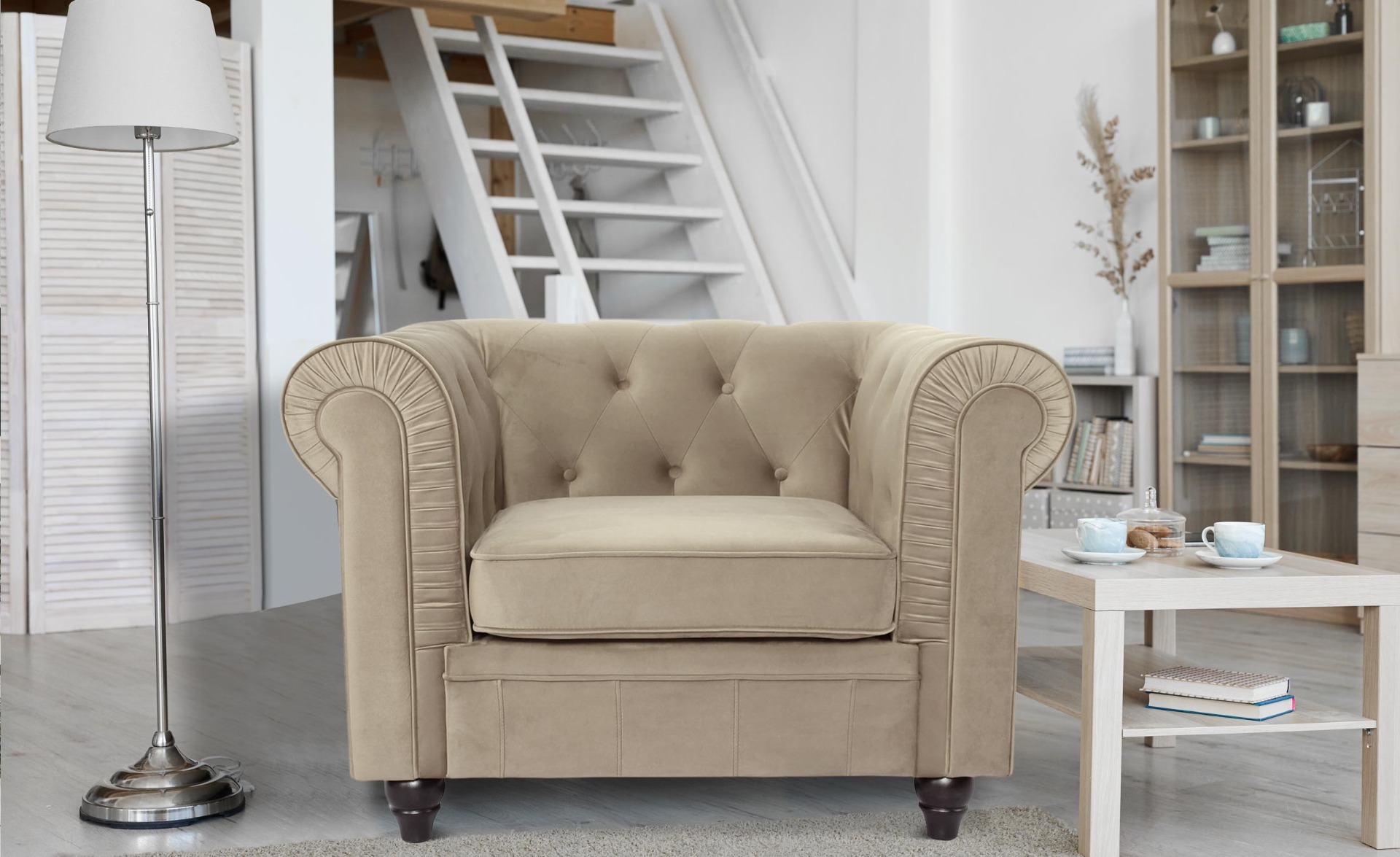 Grand fauteuil Chesterfield velours Taupe