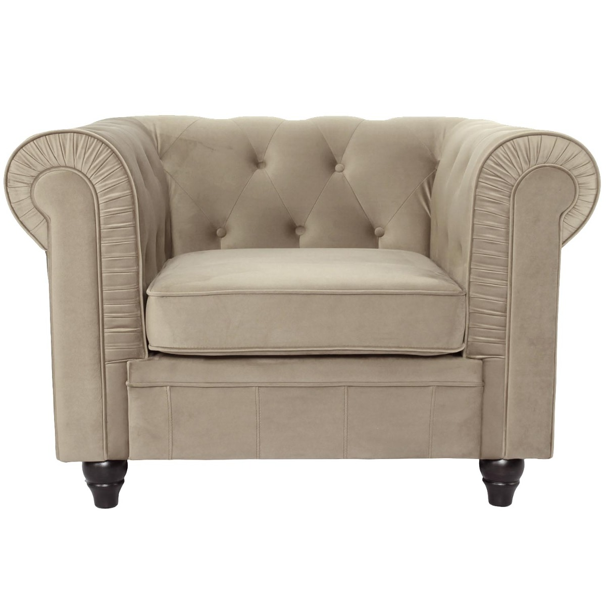 Grand fauteuil Chesterfield velours Taupe New