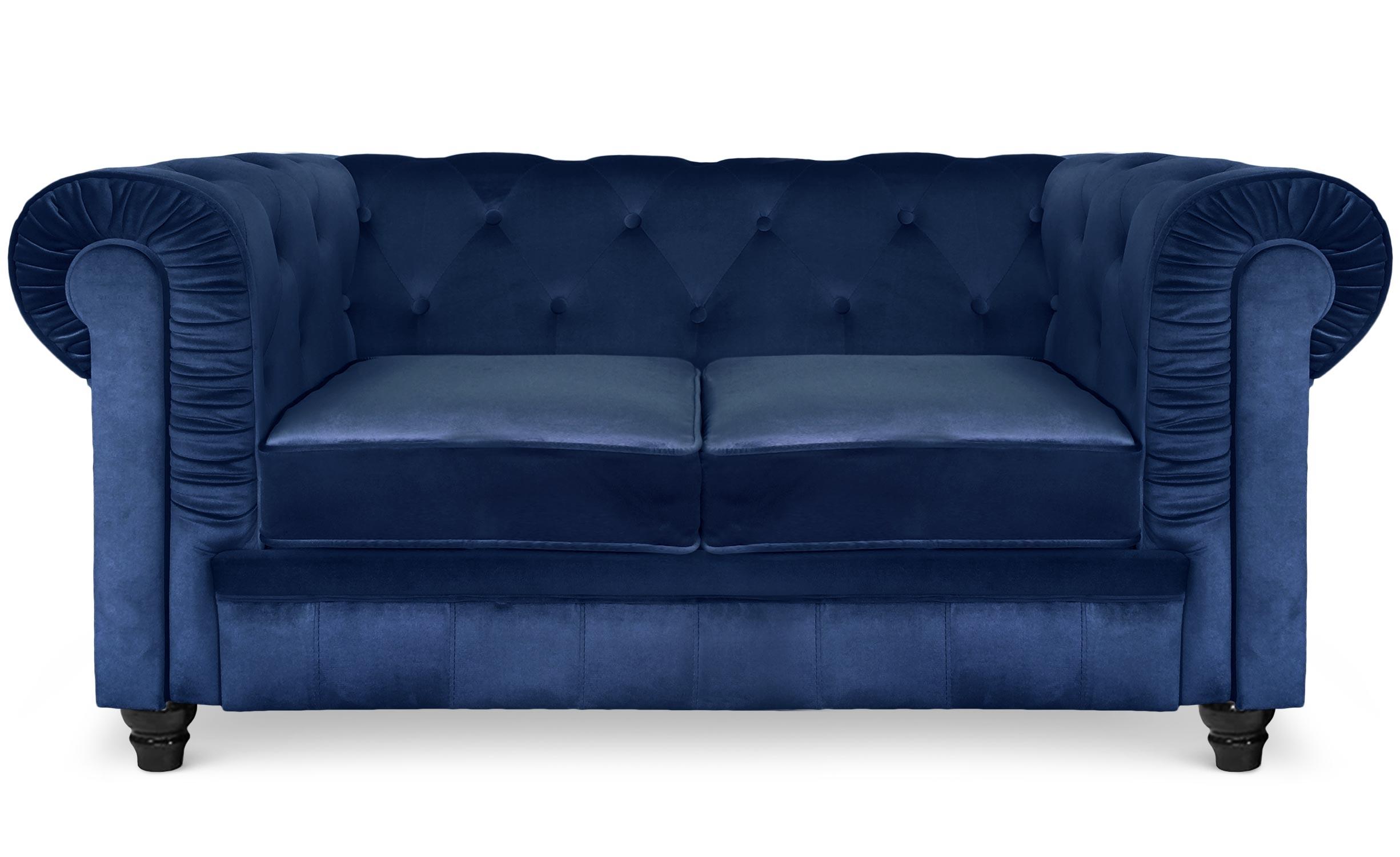Grand canapé 2 places Chesterfield Velours Bleu