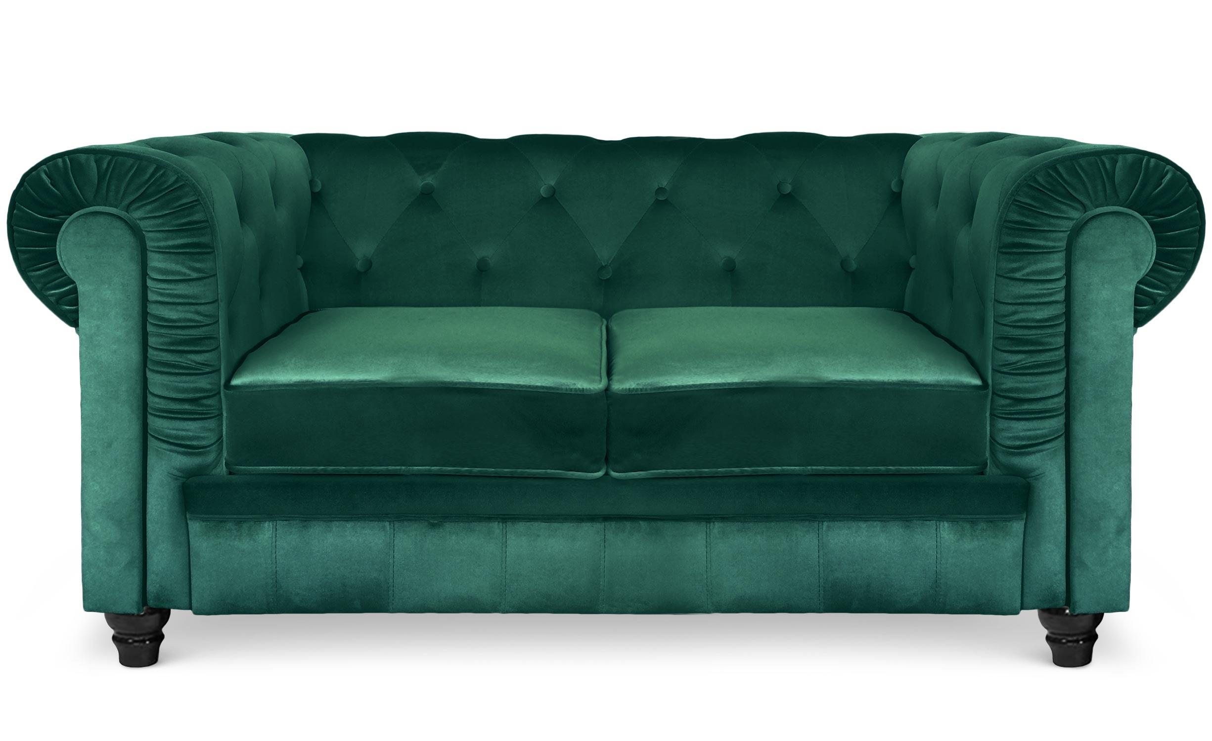 Grand canapé 2 places Chesterfield Velours Vert