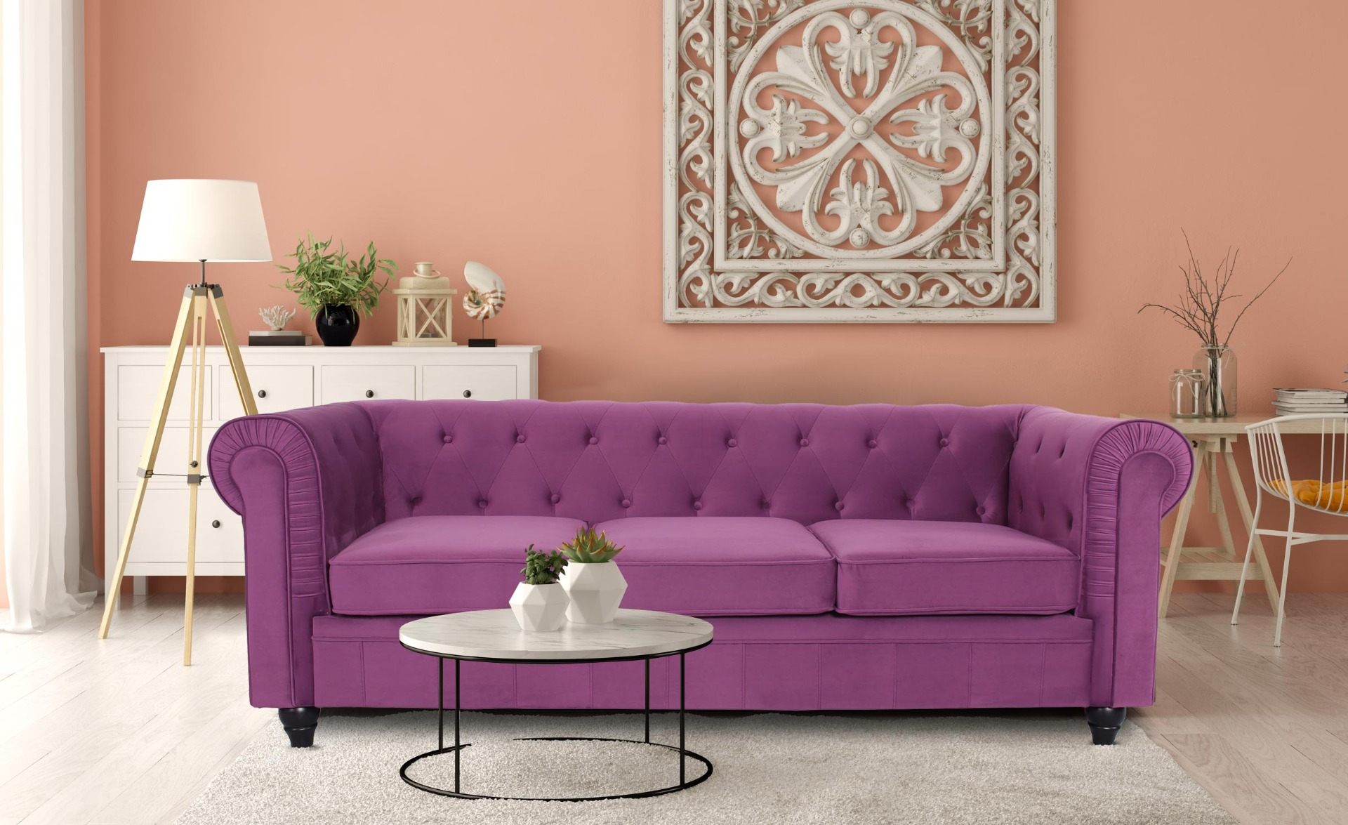 Grand canapé 3 places Chesterfield Velours Violet