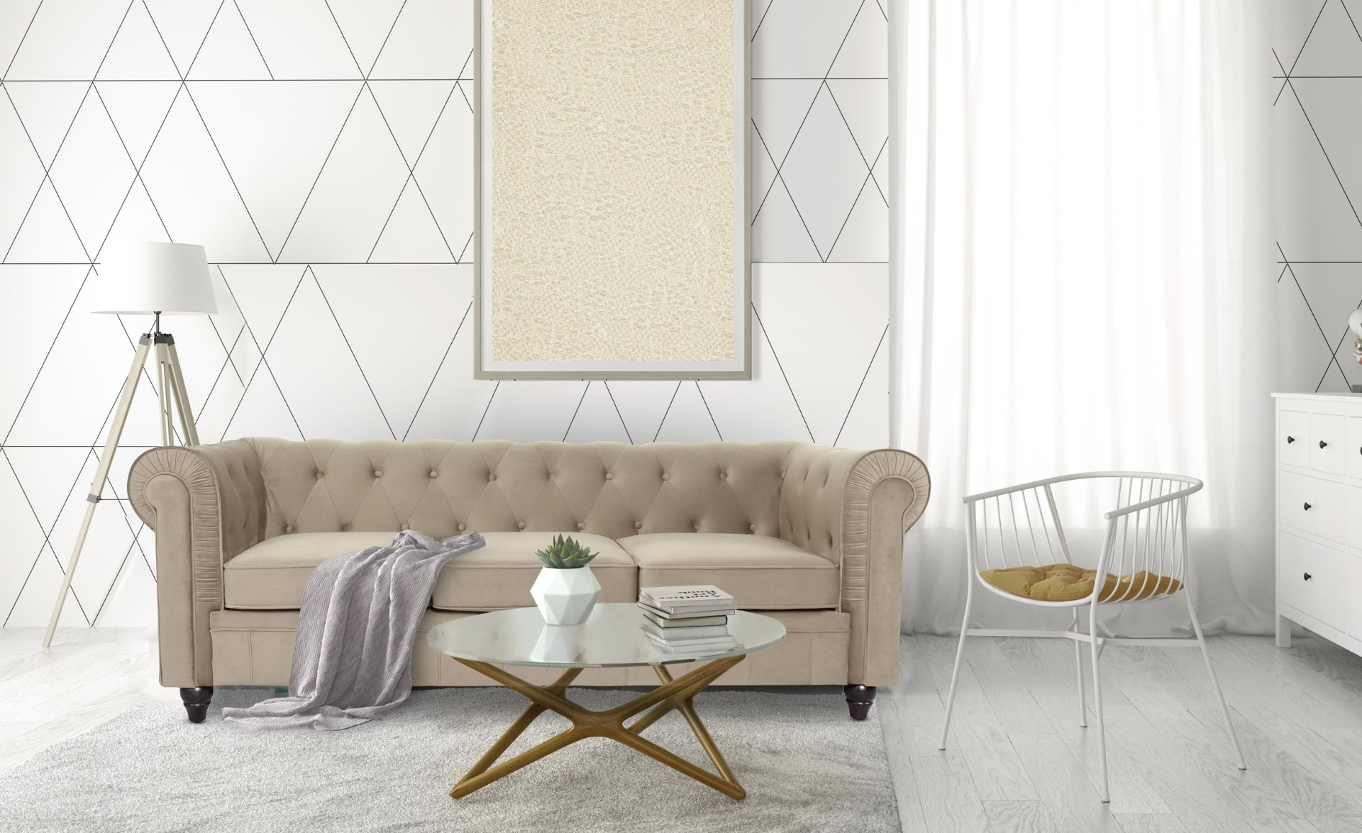 Grand canapé 3 places Chesterfield Velours Taupe