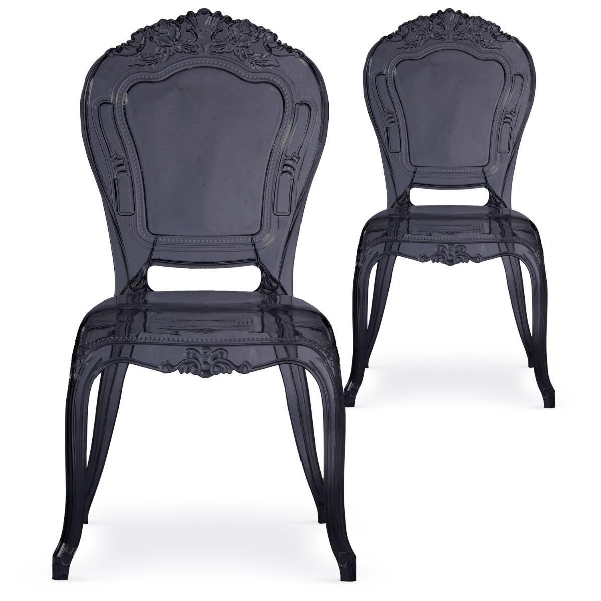 Lot de 2 chaises Crown plexi noir