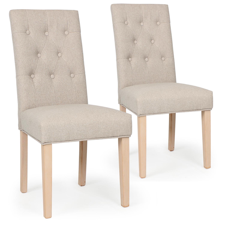 Lot de 2 chaises tissu dossier capitonné beige Costel