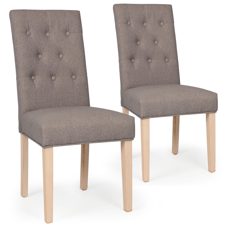 Lot de 2 chaises Costel Tissu Taupe