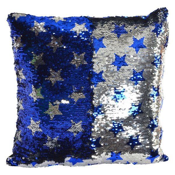 Coussin Capricine Sequins réversibles Bleu et Argent