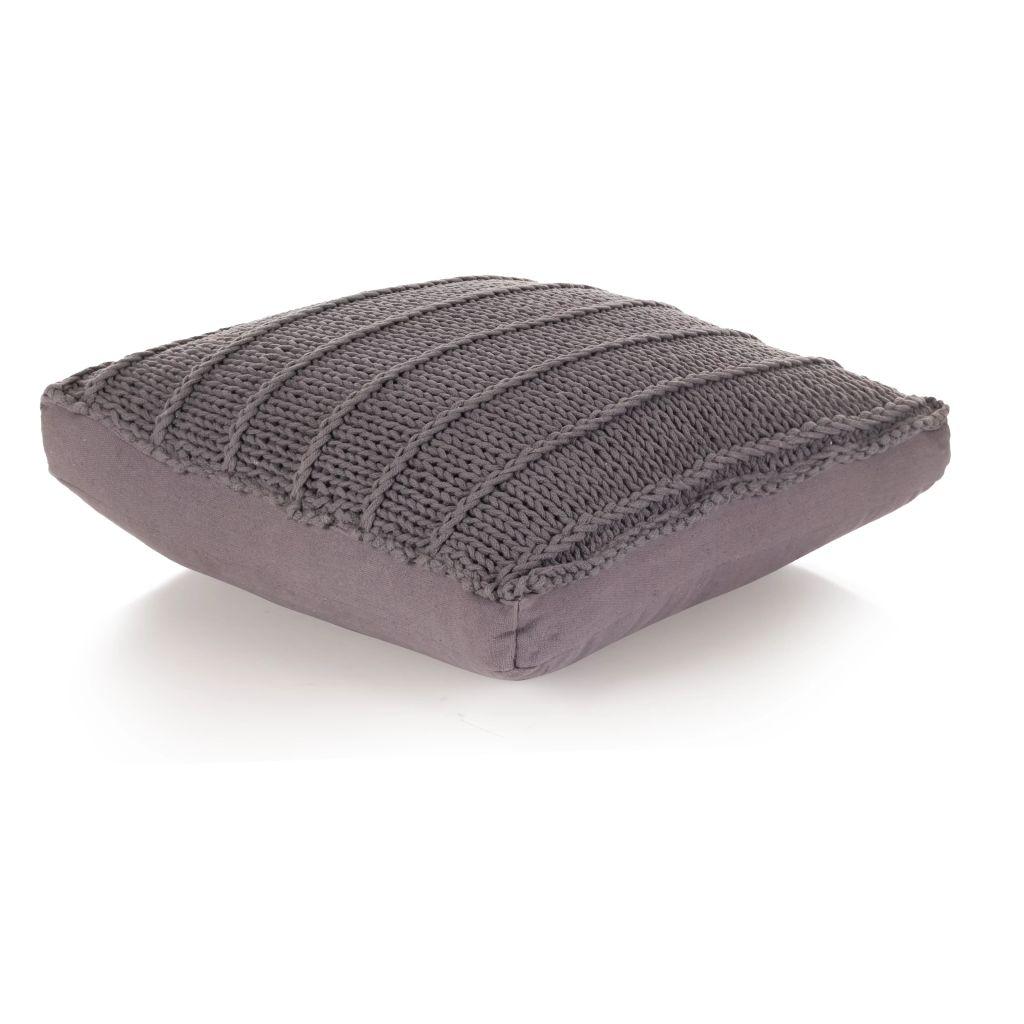 Coussin de plancher carré Coton tricoté 60 x 60 cm Gris