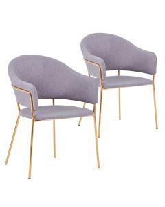 Lot de 2 chaises / fauteuils Ulrick Tissu Gris