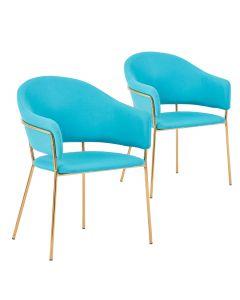 Lot de 2 chaises / fauteuils Ulrick Tissu Bleu
