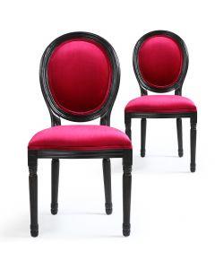 Lot de 2 chaises Louis XVI Black Velours Fuschia