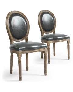 Lot de 2 chaises médaillon Louis XVI Simili (P.U) Gris