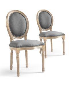 La chaise médaillon Louis XVI tissu gris clair