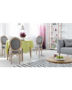 Lot de 2 chaises de style médaillon Louis XVI Tissu Gris Clair
