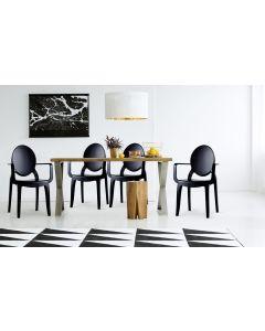 Lot de 4 chaises Sofiane Polycarbonate Noir fumé
